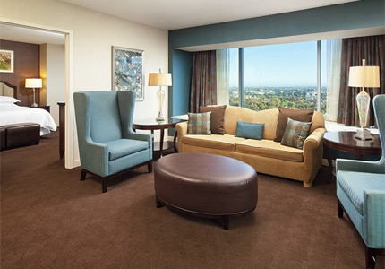 A suite at Sheraton Grand Sacramento Hotel, one of GAYOT's top-rated properties in Sacramento, California