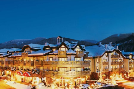 The exterior of Sonnenalp Hotel in Vail, Colorado