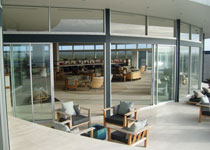 The indoor/outdoor area at Southern Ocean Lodge in Australia