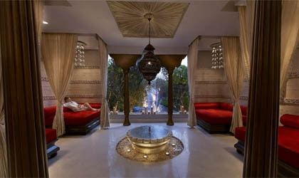 The relaxation room at the spa at ITC Mughal in India