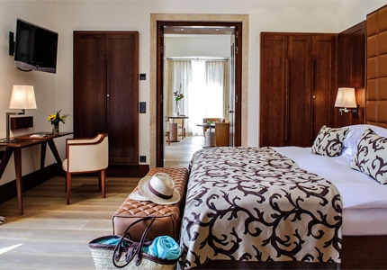 A guest room at Castell Son Claret in Mallorca