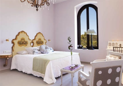 A guest room at Sant Pere del Bosc Hotel & Spa in Girona, one of GAYOT's Top 10 Hotels in Spain