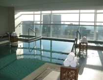The pool on the 15th floor overlooking the city