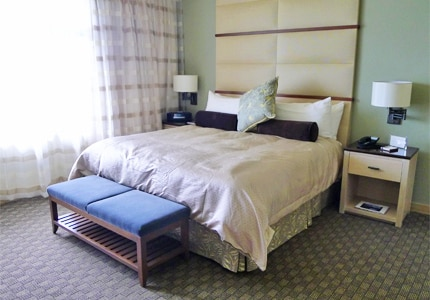 A guest room at The Allison Inn & Spa, one of GAYOT's top-rated hotels in Portland, Oregon