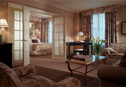 A suite at The Eliot Hotel, one of GAYOT's top-rated hotels in Boston, MA