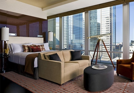 A guest room at The Joule, Dallas, one of GAYOT's top-rated hotels in Dallas/Fort Worth, Texas
