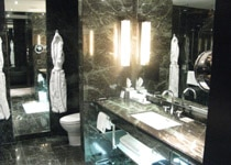 The luxurious guest bathroom at The Hazelton Hotel
