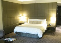 A spacious guest suite at The Hazelton Hotel