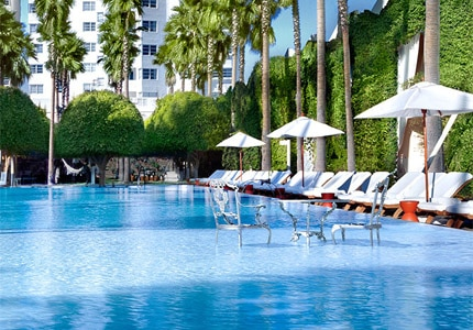 Enjoy the Sunshine State at the Delano Beach Club swimming pool at Delano South Beach, one of GAYOT's Top 10 Hip Hotels in Miami/South Florida