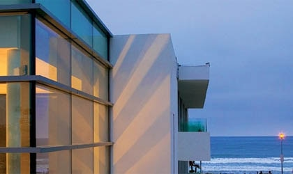 The sleek exterior of Tower23 Hotel with an ocean view in San Diego, California