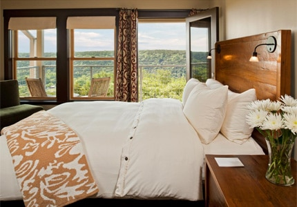 A guest room at Travaasa Austin, one of GAYOT's top-rated hotels in Austin, Texas