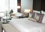 A suite-like guest room at the Trump International Hotel & Tower Chicago