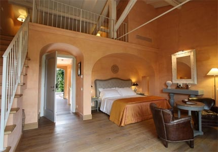 A guest room at Tenuta La Badiola in Tuscany, Italy