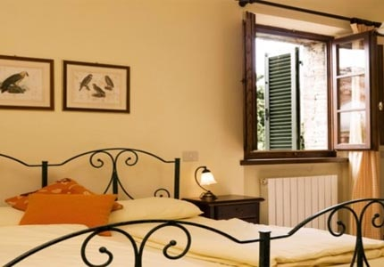 A guest room at Villa Dievole in Tuscany, Italy