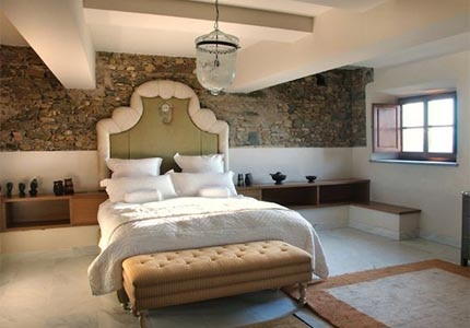 A guest room at Villa Mangiacane Firenze in Tuscany, Italy