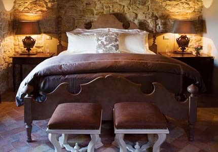 A guest room at Castello di Casole Estate in Tuscany, Italy