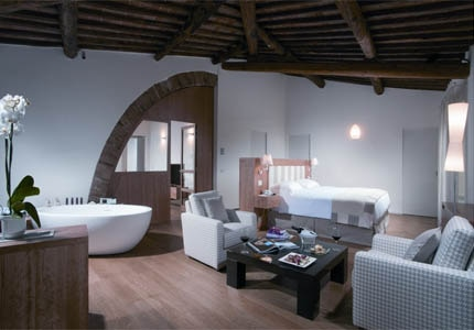 A guest room at San Felice Borgo in Tuscany, Italy