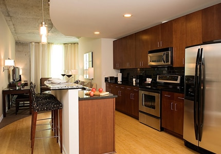 Every guestroom has a kitchen and living room at the Twelve Hotel in Atlantic Station in Atlanta, Georgia