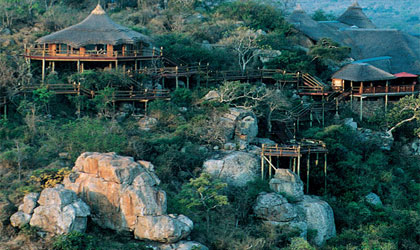 An aerial view of lodges at the Ulusaba Private Game Reserve in South Africa