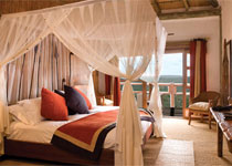 A canopied bed inside the Rock Cliff Room
