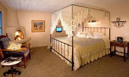 A guest room at the Historic Taos Inn in New Mexico