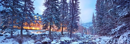 The snowy exterior of Vail Cascade Resort & Spa in Vail, Colorado