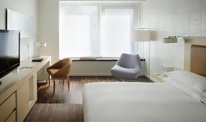 A guest room at the Andaz Wall Street in New York City