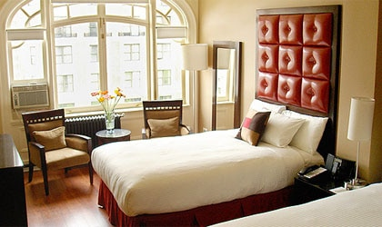 A guest room at Hotel Belleclaire in New York City