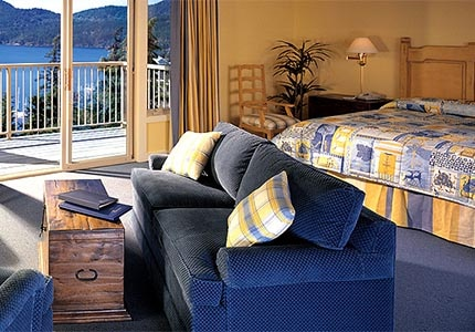 A guest room at Rosario Resort & Spa in Eastsound, Washington