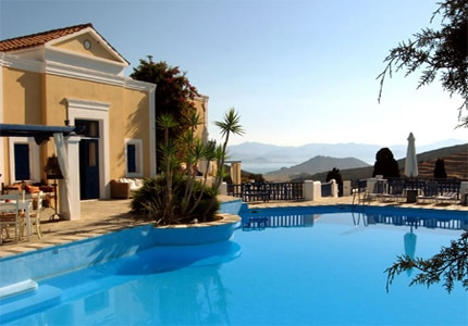 The view of the pool at Lefkes Village in Paros, Greece, one of GAYOT's Top 10 Value Hotels Worldwide