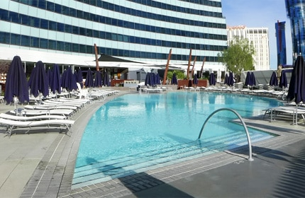 Sparkling swimming pool at Vdara Hotel and Spa, one of GAYOT's Top 10 Spa Hotels in Las Vegas, NV