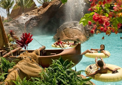 Tubing down the lazy river at Aulani, A Disney Resort & Spa in Oahu, Hawaii
