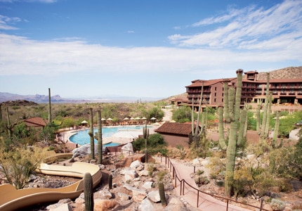 The water slide and pool at The Ritz-Carlton, Dove Mountain in Arizona