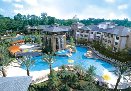 The lagoon-style pool and water park at The Woodlands Resort