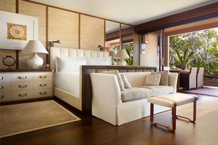 A guest room at Four Seasons Resort Lana'i at Manele Bay, one of GAYOT's Top 10 Wedding Resorts in Hawaii