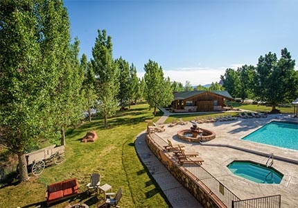 The pool and exterior of Sorrel River Ranch Resort & Spa in Moab, Utah