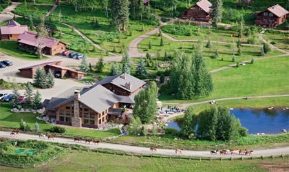 An aerial view of Vista Verde Guest Ranch in Steamboat Springs, CO