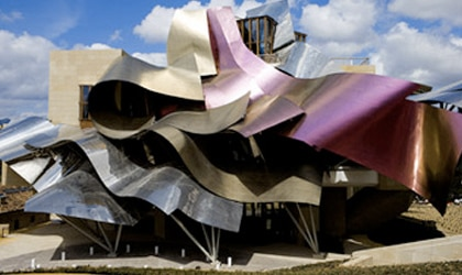 The exterior of Hotel Marqués de Riscal in Spain was designed by Frank Gehry