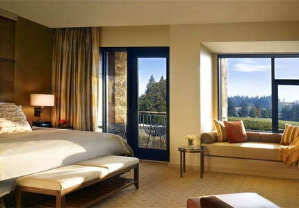 Guest rooms at The Allison Inn & Spa overlook the evergreen hills