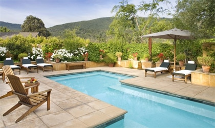 The pool at Bernardus Lodge and Spa in Carmel Valley, CA