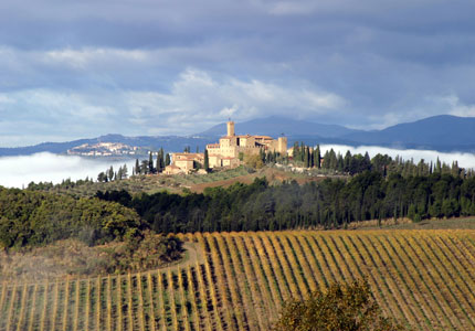 Sleep among the vines at Castello Banfi in Italy, one of GAYOT's Top 10 Wine Country Inns Worldwide