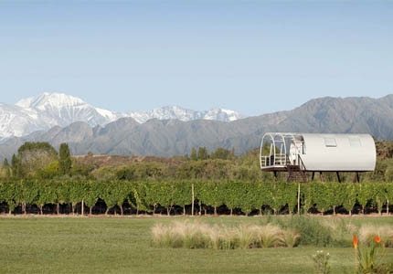 The Limited Edition Suite, a capsule loft perched on stilts above the grapevines at Entre Cielos in Argentina