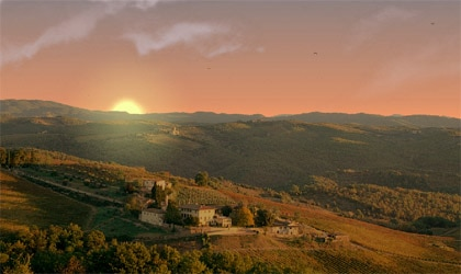 An aerial view of the Dievole Estate in Italy at sunrise