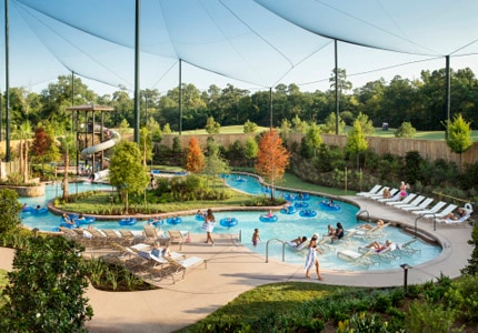 The lazy river and water park at The Woodlands Resort & Conference Center in Texas
