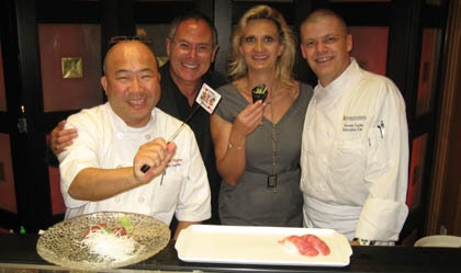 Lord Howard Posener and Sophie Gayot at The Intercontinental Los Angeles with Toshi Sugiura of Bar Hayama and Vincent Cachot of Park Grill.