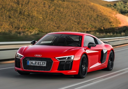 A three-quarter front view of the Audi R8 V10 plus Coupe