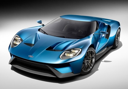 A three-quarter front view of the Ford GT