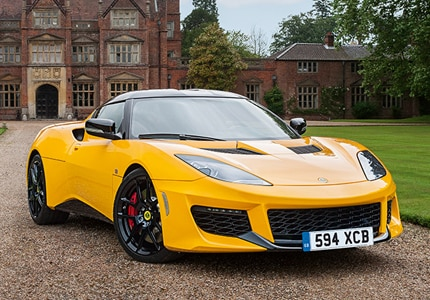 A three-quarter front view of the Lotus Evora 400
