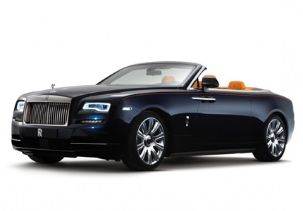 A three-quarter front view of the Rolls-Royce Dawn