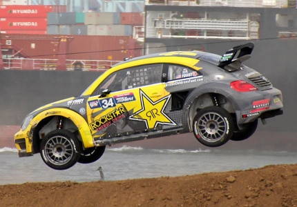 Faust racing his Volkswagen Beetle to a second place finish at the Red Bull Global Rallycross in the Port of Los Angeles on Saturday September 12, 2015